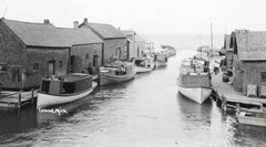 leland, mi, historical image of fishtown harbor
